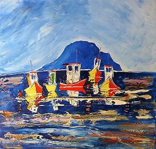 'Five Fishing Boats Island Bay' by Vincent Duncan