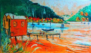 'Morning at the Paremata Boatsheds' by Vincent Duncan