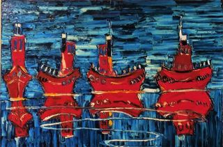 'Four Tugboats' by Vincent Duncan