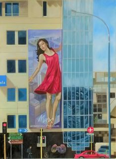 Red Dress on Taranaki St 2' by Melissa McDougall