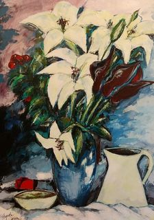 'Red box with Lillies' by Peter Augustin