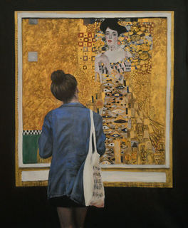 'Watching Klimt Woman in Gold' by Escha van den Bogerd (SOLD)