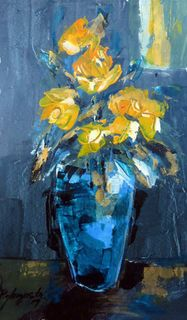 'Blue Vase with Yellow Roses' by Peter Augustin