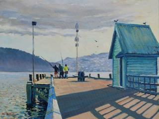 'Evening on the Wharf Petone' by Phil Dickson