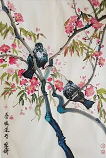 'Tuis and Cherrie Blossoms' by Ginette Wang (SOLD)