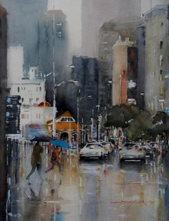 'Blue Brolly on Post Office Square' by Dianne Taylor (SOLD)