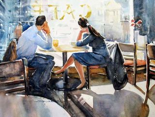 'Watching the World go by- Wellington Cafe' by Dianne Taylor (SOLD)