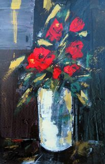 'Red Roses White Vase' by Peter Augustin