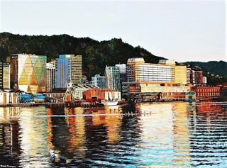 Ronda Thompson 'Most of my paintings are of the Wellington waterfront. I love painting the dusk and dawn light.'