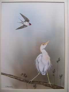 Near Neighbours Swallow and Egret by Janet Marshall (SOLD)