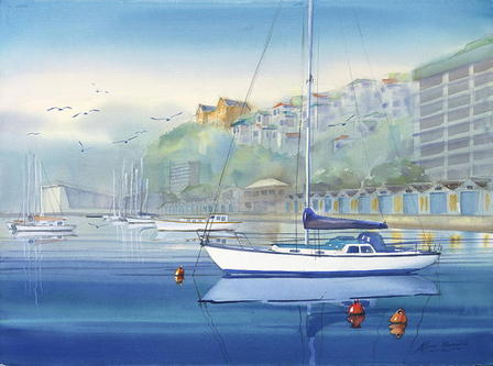 'Boat Harbour Misty Day' by Alfred Memelink (SOLD)