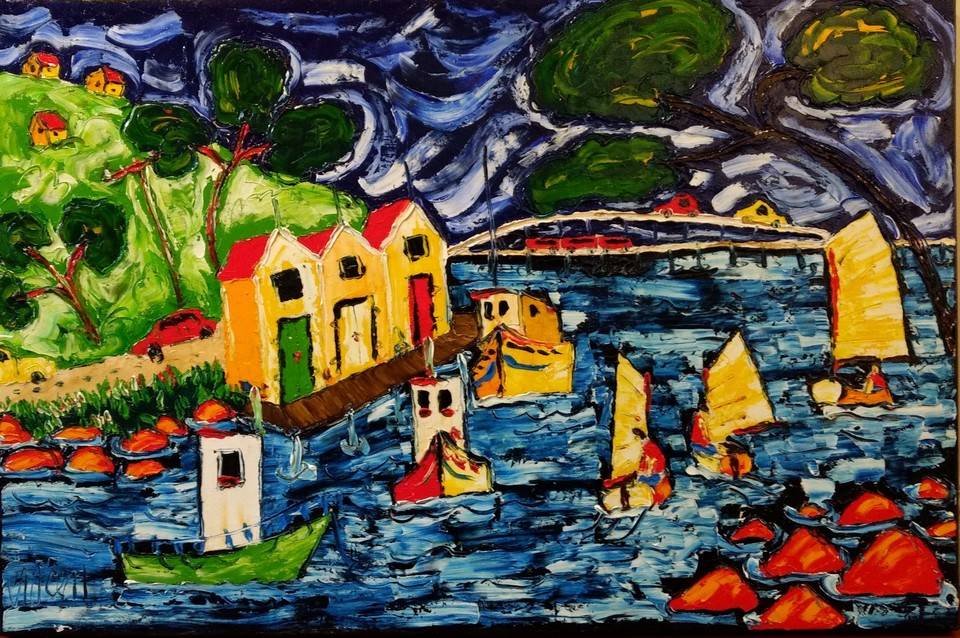 'Boats and Boatsheds' by Vincent Duncan (SOLD)