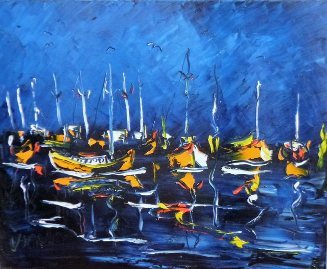 'Boats at Night' by Vincent Duncan (SOLD)