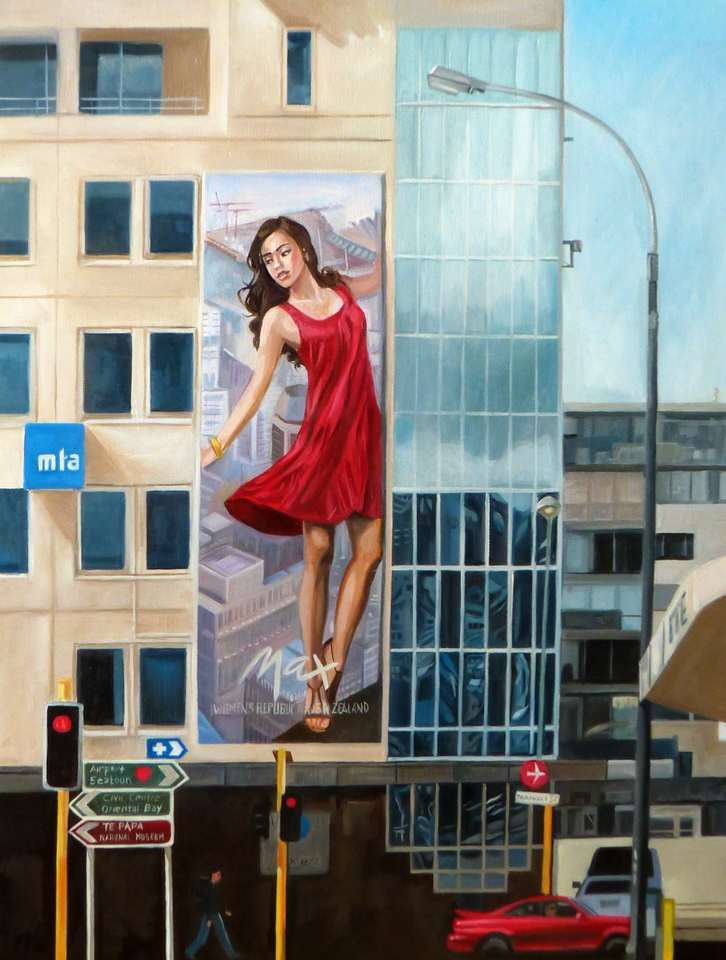 'Red Dress on Taranaki Street' by Melsiia McDougall