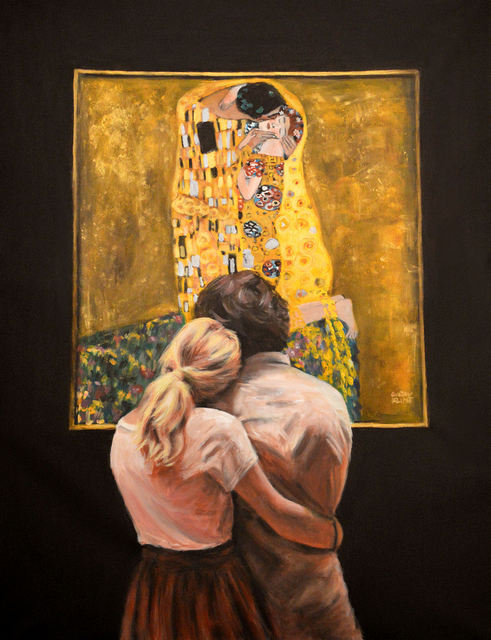 'Watching Klimt - The Kiss' by Escha van den Bogerd (SOLD - available as stretched print)