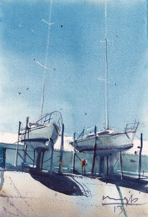 'Evans Bay Boats' by Michael Bennett (SOLD)