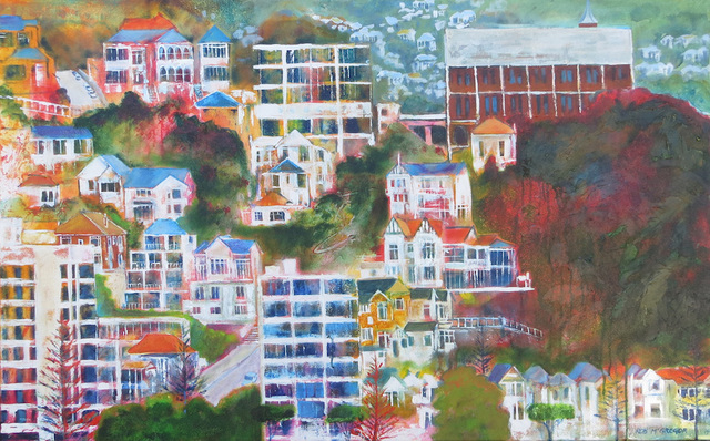 'Wellington Houses Mt Victoria' by Rob McGregor (SOLD)