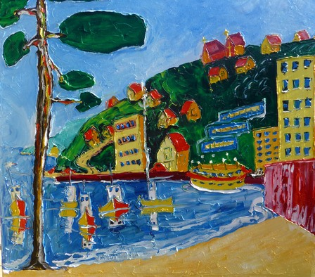 'Fishing Boats Oriental Bay' by Vincent Duncan (SOLD)