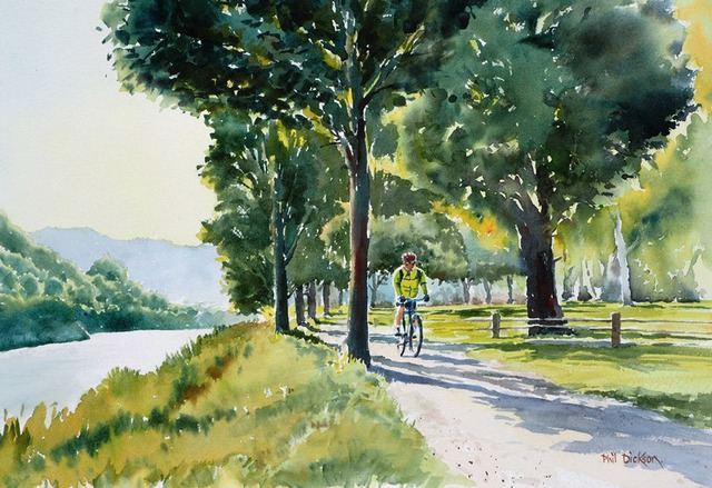 'Hutt River Trail' watercolour by Phil Dickson