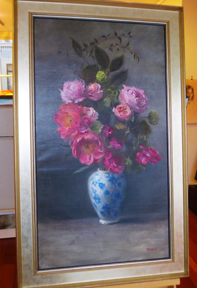 'Flowers in a Blue Vase' by Tatyana Kulida (SOLD)