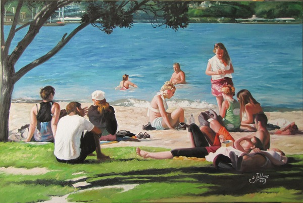 'Summer Swim Oriental Bay' by Zad Jabbour (SOLD)