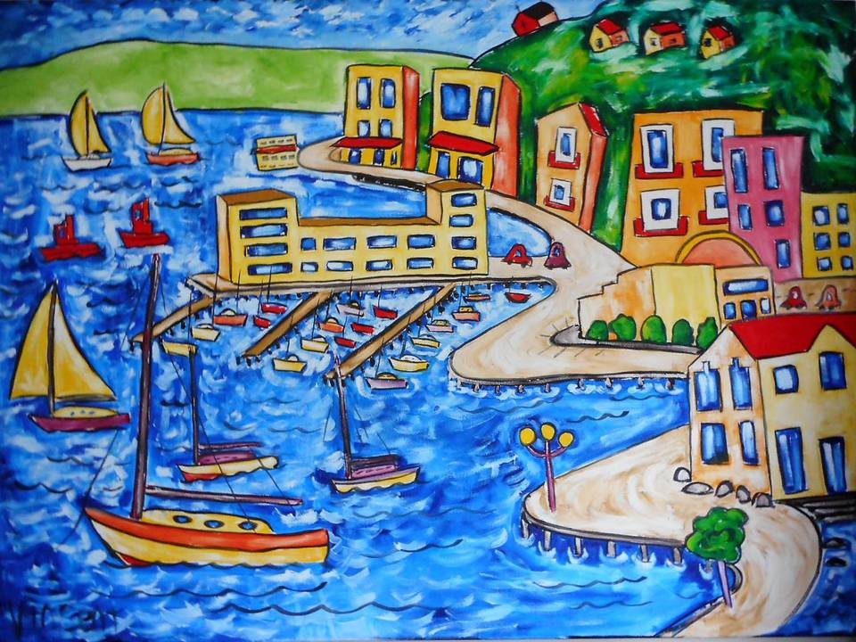 'Yachts in the Marina' by Vincent Duncan (SOLD)