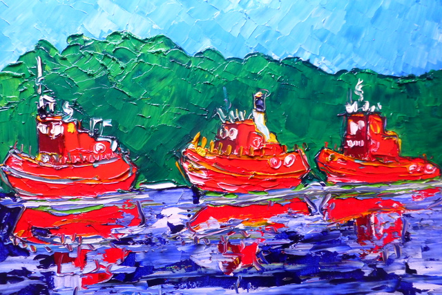 'Tugboats No 2' by Vincent Duncan (Sold)