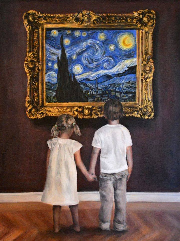 'Watching van Gogh Starry Night' by Escha van den Bogerd (Sold)