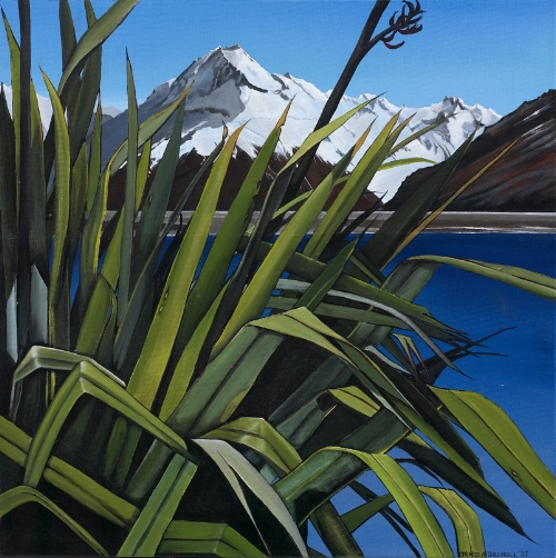 Arna Marshall 'I predominantly paint flaxes (harakeke) with a beautiful NZ scene in the background'
