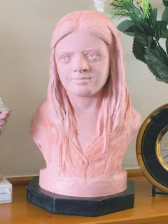 Bust in unfinished clay